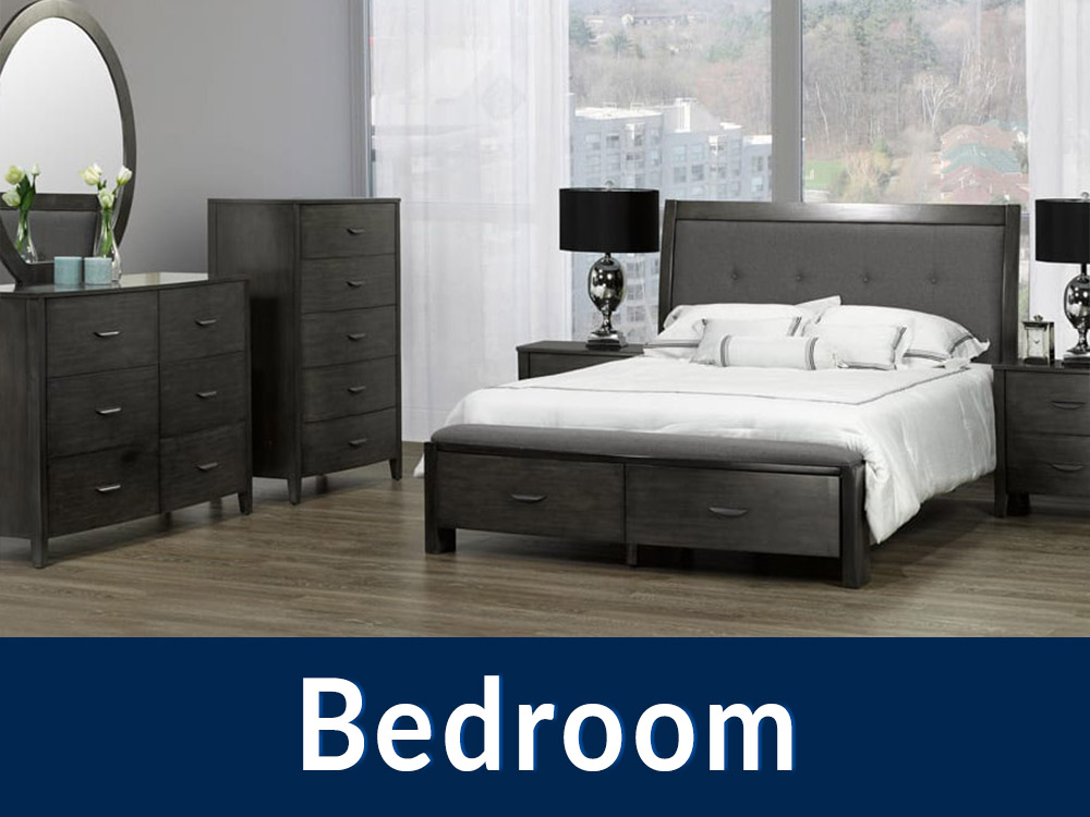 A photo of the Cameron bedroom set by Titus with a blue box at the bottom and text saying 'Bedroom' in white.
