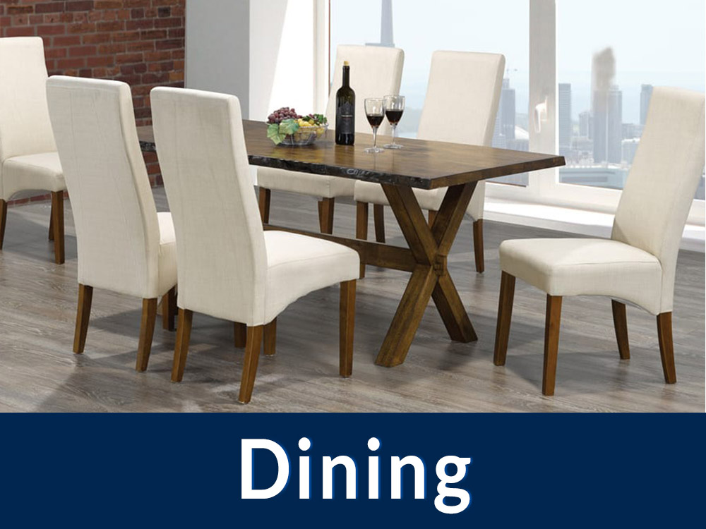 Titus Dining Set 3036 with a blue box at the bottle and text saying 'Dining' in white