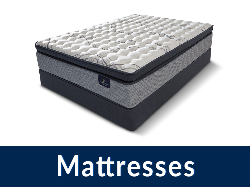 A photo of a mattress with a blue box at the bottom and text saying 'Mattresses' in white
