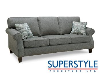 A couch with the Superstyle logo in the bottom right corner.
